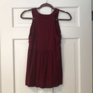 MICHAEL Michael Kors Tops - Michael Kors Burgundy Red and Brass Detail Top